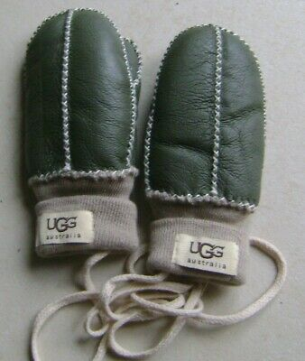 Olive Green Childrens UGG Mittens.. Leather/Fur lined - New