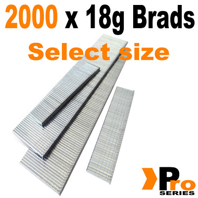 18 Gauge Brads: Sizes available 15mm - 50mm Brads ( 2 x 1000 Brad Handy Pack )