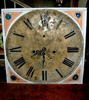 **Antique  8-DAY GRANDFATHER/LONGCASE CLOCK MOVEMENT +DIAL**