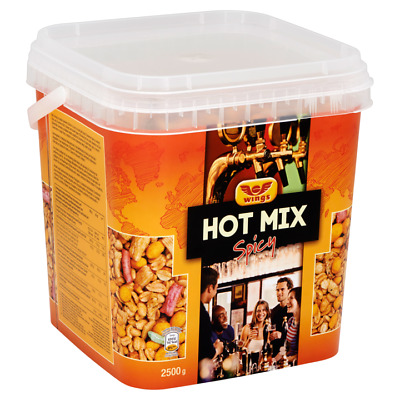Wings HOT MIX Spicy 2500g Mix of (Coated) Peanuts and Rice Snacks Resealable Tub