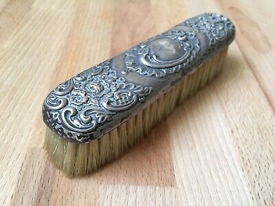 Antique Victorian Solid Sterling Silver Backed Clothes Brush Art Nouveau Style