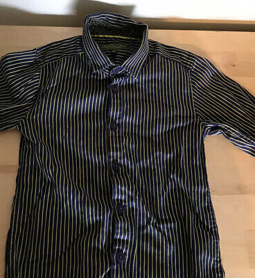 Baker Boy By Ted Baker Purple With Yellow Stripe Shirt 4/5 Yrs