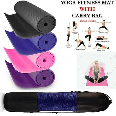 Yoga Exercise Gym Mat Thick Non Slip Pilates With Carry Bag For Fitness Workout
