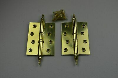 """10 pairs 4"""" SOLID BRASS BALL BEARING HINGE WITH ORNATE FINIAL WITH SCREWS."""