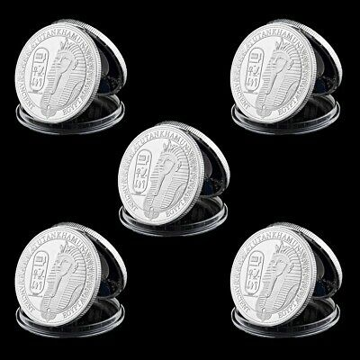 5pcs Coin Ancient Egyptian Pharaoh Stone Lion Face Pyramid Silver Plated Coin