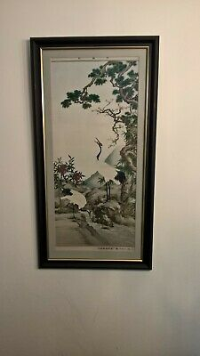 Chinese embroidery 20th silk textile picture signed river scene with cranes