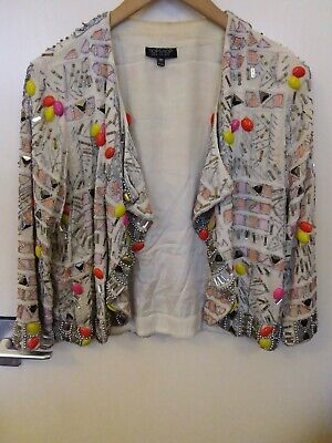 TOPSHOP Off-White Multi Coloured EMBELLISHED Beaded SEQUIN Trophy JACKET UK10