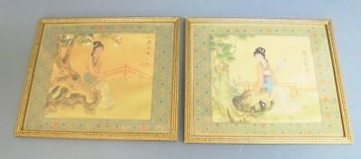 Two Asian Watercolours on Silk of Maidens with Artists Seals