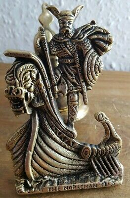 Vintage Cast Brass Viking Norseman Door Bell .. Front Door Furniture