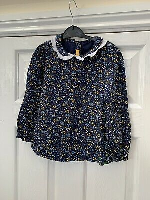 Little Bird Mothercare Girls Blue floral Collared Blouse Age 3-4 Great Condition