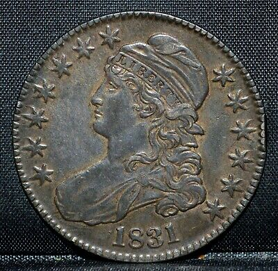 1831 Capped Bust Half Dollar ✪ Au Almost Uncirculated ✪ 50C Silver H8 ◢Trusted◣
