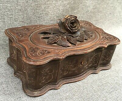 Big antique black forest box made of wood early 1900's Germany woodwork flower