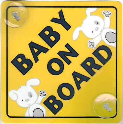 Baby On Board Child Safety Cute Car Sign With 2 Suction Cup Uk