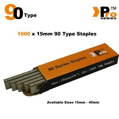 90 Type Staples: Size 15mm ( 1000 Staple Handy Pack )