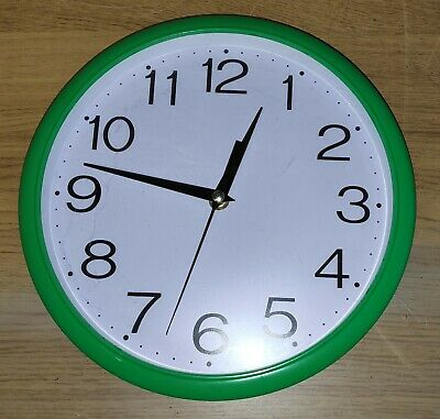 Wall Clock Green Kitchen School Office Home Shabby Chic Decor 9 inch