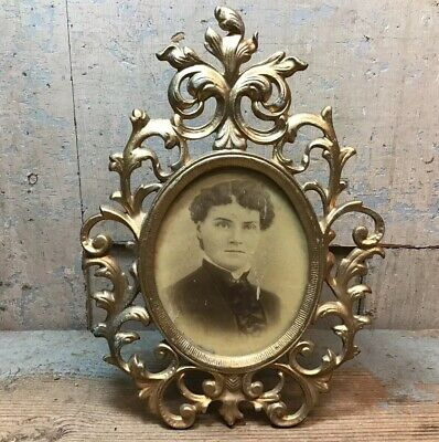 Antique Ornate Cast Iron Gold Gilt Oval Picture Frame Victorian Easel Style