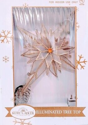 Kurt Adler Star Illuminated Christmas Tree Topper Orange Gold Opaque New In Box