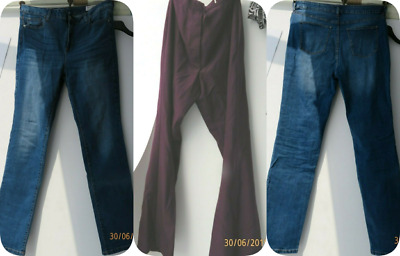Lot of 3 X Pairs of Pre-owned Ladies Jeans/Trousers- Size 14