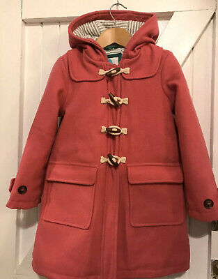 Boden girls Age 5-6 Years Duffle Coat Pink Hooded Zip & Toggle Warm New Unworn