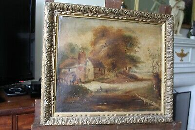 Original Antique Old 18th/19th Century Country Landscape Oil Painting