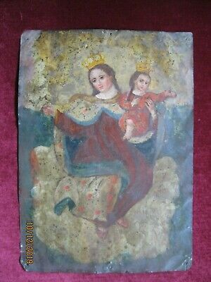 Original Antique Retablo On Tin With Crowned Virgin Mary And Christ Child