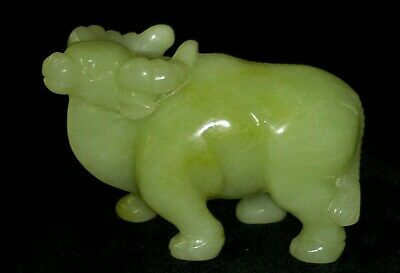 Hand Carved Natural Antique Nephrite Feng Shui Bull Figurine.Rare & Very Nice