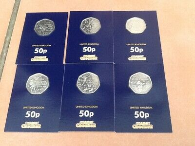 RARE CHANGE CHECKER ISLE OF MAN FULL SET OF PETER PAN 6 x 50 PENCE COINS, 2019