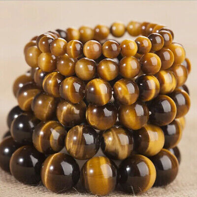 7.5 Inch 8mm Natural Stone African Roar Natural Tiger's Eye Round Beads Bracelet