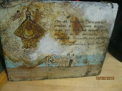 Original Antique Retablo / Exvoto On Masonite From 1940'S Thanking Ladyofsanjuan