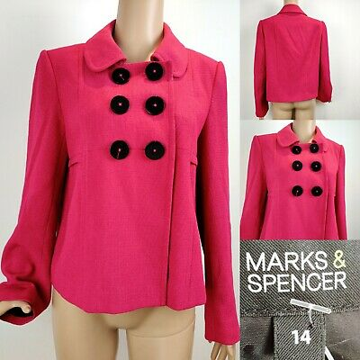 Ladies MARKS & SPENCER Jacket Blazer Size 14 Magenta Pink Occasion Immaculate