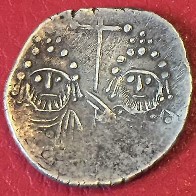 Ancient Heraclius Constantine And Martina / Very Rare Byzantine Silver Coin