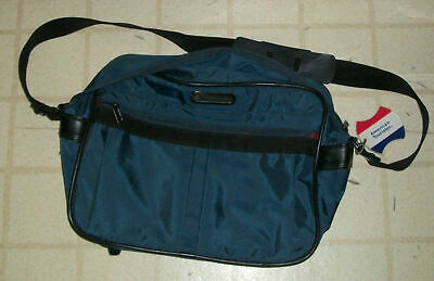 Vtg American Tourister Concord Luggage Carryall Travel Satchel Blue Brown Bag