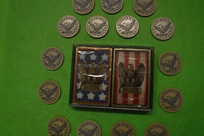 Vintage Clay Poker Chips Crown & Eagle Chips With *-decks of cards