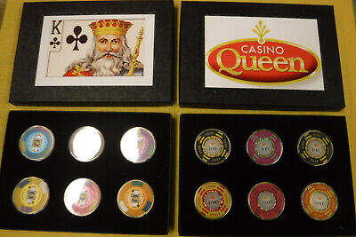 Vintage Poker Chip Set in Holder with playing cards