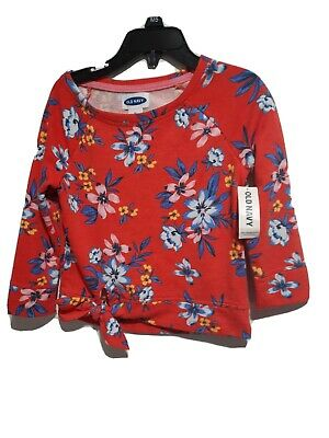 Old Navy Girls Top 2T Long Sleeve  Red Floral  Cotton Blend
