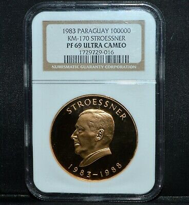 1983 Paraguay Gold 100000 Guaranies ✪ Ngc Pf-69 ✪ Km-170 Stroessner ◢Trusted◣