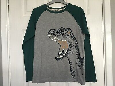 """Fat Face Boys Green Mix """"Dinosaur"""" Long Sleeve Top size 12-13 years"""