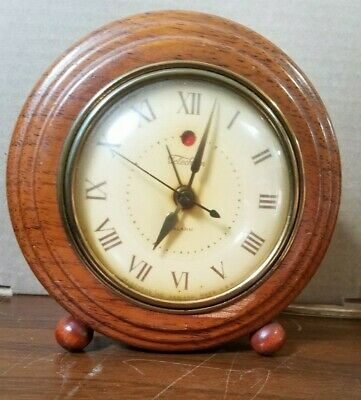 "Vintage Mostly Working Wood Telechron Electric Alarm Clock 6"" Round 3"" Deep"