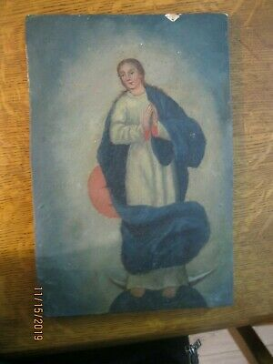 Original Mid 1900'S Oil Painting On Wood Retablo Of Imaculate Conception