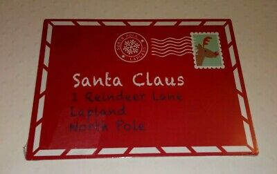New Red Metal Santa Claus Postcard to Lapland Hanging Plaque 20x15cm