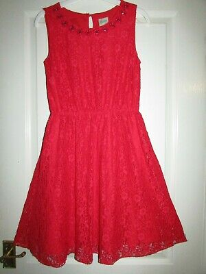 girls pretty red lace dress from Yumi at Debenhams age 13-14yrs