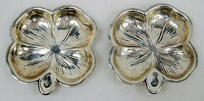 "Set of 2 Lenox Four Leaf Clover Shamrock Sterling Silver Nut Dishes 2 1/2"" B1314"