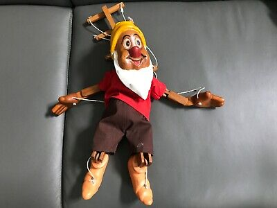 "Vintage Hand Carved Wooden ""Happy"" Dwarf Marionette Puppet 14"" Hand Painted"