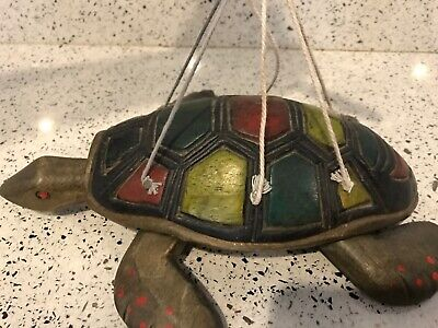 "Vintage Hand Carved Wooden Turtle Marionette Puppet 9""  Hand Painted"