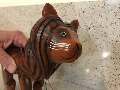 """Vintage Hand Carved Wooden Lion Marionette Puppet 7"""" Tall Hand Painted"""