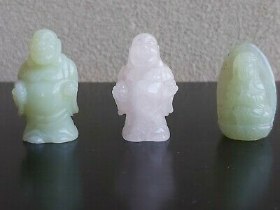 Vintage Chinese Jade Miniatures (Guanyin, Buddha) Lucky Figurines Charms