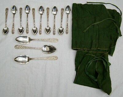 Lot of 13 S. Kirk & Son REPOUSSE Sterling Silver Tea & Serving Spoons B0290