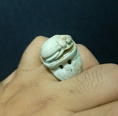 RARE ANCIENT EGYPTIAN EGYPT ANTIQUE RING Talisman With Scarab STONE Egypt BC