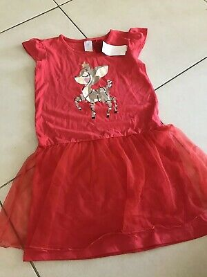 Size 7 Christmas Reindeer Nightie Bnwt Red Pjs Girls