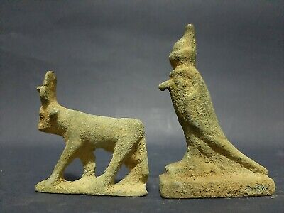 ANCIENT EGYPTIAN INTACT BRONZE 2 STATUES OF HORUS And Hathor Cow GODDESS 300 BC